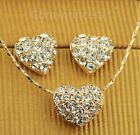18K GP Gold Plated Swarovski Element Crystal Love Heart Necklace Earrings Set