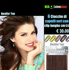 EXTENSION 6 FASCE CON CLIP  LUNGHE 45 CM-100% CAPELLI VERI-TOP REMY MADE ITALY