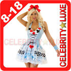 New Ladies Fairy Tale Alice in Wonderland Fancy Dress Costume Party Mad Hatter