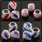 Wholesale Colorful Enamel Clear Rhonestone Drum European Charm Bead Fit Bracelet