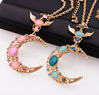Pink Blue Moon Wing Necklace Sailor Moon Pendant Cosplay 3.7'' * 2'' Free Ship