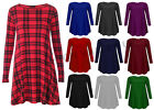 WOMENS RED TARTAN CHECK LONG SLEEVE PLUS SIZE FLARED SWING SKATER DRESS 8-22