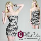Nwt Sexy Stunning Cream Taupe Bodycon Knit Dress Lace Print Embellished-NIKIBIKI