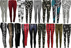 NEW WOMENS LEOPARD SKULL ROSES PLUS SIZE RED TARTAN BLACK WET LOOK LEGGINGS 8-22