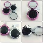 ROUND FOLDING COMPACT HAIRBRUSH AND MIRROR PINK OR SILVER