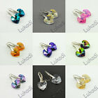 SILVER 925 EARRINGS WEDDING SWAROVSKI HEART 14 mm CRYSTAL AB LONG NEW 17 COLORS