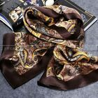 "Gift!   Mens 100% Silk Long Scarf  Cravat Scarives 63""X12"" Brown Green"