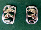 horse head earrings stud back pierced earring gold & silver tones