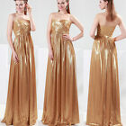Vogue Golden Long Wedding Ball Gown Bridesmaid Cocktail Party Evening Prom Dress