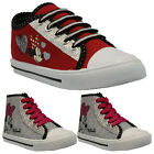 GIRLS DISNEY MINNIE MOUSE CANVAS LACE SHOES RETRO PUMPS PLIMSOLLS TRAINERS Z*