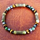 Mens Crystal Fertility Bracelet; Unakite, Tiger's Eye, Ruby in Zoisite