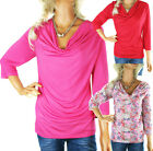 SALE LADIES TOP PLUS SIZE 12 - 20 PINK RED COWL NECK LONG SLEEVE WOMENS