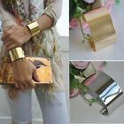 Punk Chic Gothic Gold Silver Wide Hammered Cuff Wristband Chain Bracelet Bangle
