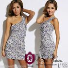 Womens Clubwear Animal Print Sexy Bandage Dress One Shoulder Wow Couture MBK23