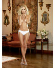 MICROFIBER CHEEKY PANTY WITH CROSS-DYE LACE BACK & SATIN BOW TRIM Size S-XL New