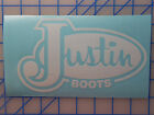 """Justin Boots Logo Decal Sticker 5"""", 7"""" or 10.5"""" - 12 Colors Cowboy Western Work"""