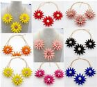 Hot Newest  crystal floral burst 3PCS Spike Flower Statement Collar necklace