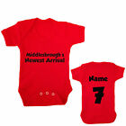 MIDDLESBROUGH FC PERSONALISED FOOTBALL BABYGROW CHOOSE YOUR NAME AND NUMBER