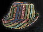 FESTIVAL TRILBY  HAT BRIGHTLY STRIPED CHOICE OF SIZE