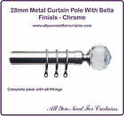 28mm Metal Curtain Pole With Bella Glass Finials Chrome