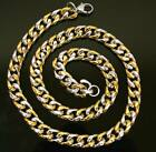 New High Quality Mens Heavy Gold and Silver Flat Curb Chain Necklace 1cm x 67cm