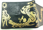 NEW GENUINE STINGRAY LEATHER WALLETGOLD DRAGON, BI-FOLD ,COIN PURSE,CARD HOLDER,