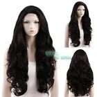 "18""-28"" Long Curly Black Lace Front Wig Heat Resistant"
