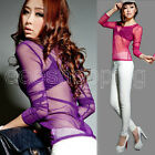 New Women Gauze Sheer Crew Neck Tops Slim Sexy Casual Long Sleeve Blouse T-Shirt