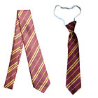Harry Potter Tie Ties Elasticated & Regular Maroon Gold Stripe World Book Day