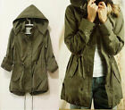 NEW Womens Hoodie Drawstring Army Green Military Trench Parka Jacket Coat GT7870