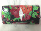 NEW 100% GENUINE STINGRAY LEATHER CLUTCH WALLET,TRI-FOLD MULTI COLOUR FLOWER NO2