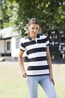 Womens Ladies PINK BLUE or WHITE Striped Cotton Short Sleeve Polo Shirt No Logo