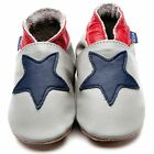 Inch Blue Boys Baby Luxury Leather Soft Sole Pram Shoes - Starry Grey & Navy