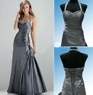 Halter Pageant Prom Dress Formal Evening Bridesmaid Graduation Party Ball Gown