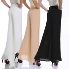 "Women""s Chiffon Long Pants Flare Trousers Split Wide Leg Divided Skirts [JG]"