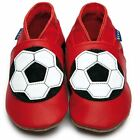 Inch Blue Boys Baby Luxury Leather Soft Sole Pram Shoes - Football Red