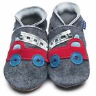 Inch Blue Boys Baby Luxury Leather Soft Sole Pram Shoes - Firetruck Denim