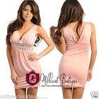 Womens Evening Cocktail Clubwear Party Mini Dress Embellished Waist Pink Salmon