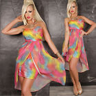 Sexy Mini Dress Layered Multi Colour Pink Bandeau Party Club Wear 8 10 12 14
