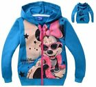 Cute Minnie Mouse Kids Girls Zipper Funny Hoodies Coat Clothing Aged 2-8years