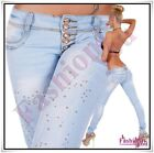 Womens Skinny Jeans Ladies Trousers Light Blue with Sequins Size 6,8,10,12,14 UK