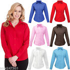 Ladies Shirt Smart Office Blouse Size 8 to 24 Easy Care Full/Long Sleeve Poplin