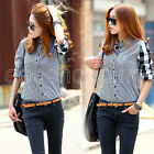 Women Casual Button Down Long Sleeve Checks Shirt Fashion Plaids Blouse Tops
