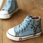 2014 new Size 25-37 children Denim Jeans Zipper Sneakers Boys Girls Casual Shoes