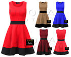 Womens Black Contrast Panel Sleeveless Flippy Flared Ladies Mini Skater Dress