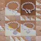 FREE P&P wholesale Solid SILVER Womens Bracelet/bangle Chain lady925 + Gift Box