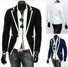 fashion Mens Slim Fit Stylish Casual Dress One Button Suit Blazer Coat Jackets