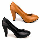 NEW WOMENS LADIES STILETTO HIGH HEEL BLACK NUDE ROUND TOE PUMPS COURT SHOES SIZE