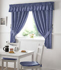 Gingham Check Pair of Country Kitchen Curtains Free Pelmet Tiebacks Blue