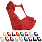 HI WEDGE PLATFORM HIGH HEELS WOMENS T BAR SANDALS LADIES SHOES ALL SIZE & COLOUR